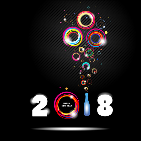 Illustration for Happy New Year 2018. Abstract poster - Royalty Free Image