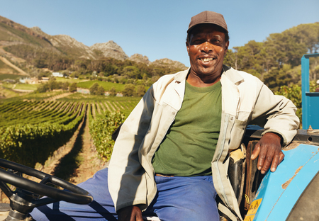 Farmer driving tractor in the fields during harvest in countryside. Vineyard worker sitting on his tractor smiling.