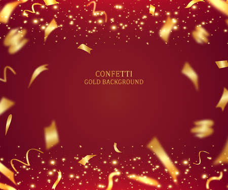 Illustration pour 3D holiday background illustration with shiny gold ribbon and tinsel on red background - image libre de droit