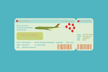 Boarding Pass Ticket , concept wedding Invitation Template