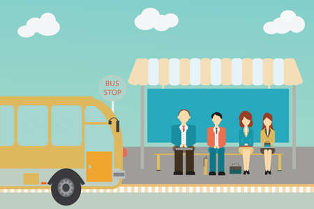 People waiting for a bus at the bus stop,vector illustration.