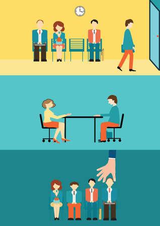 Illustration pour Business people sitting and waiting for interview, recruitment concept, vector, illustration. - image libre de droit