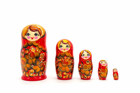 Photo pour Matryoshka Dolls isolated on a white background. Russian Wooden Doll Souvenir. Russian nesting dolls, stacking dolls. - image libre de droit