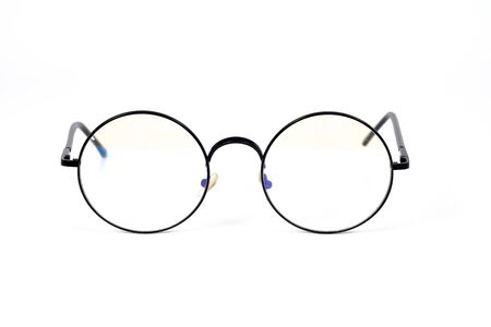 Photo pour Eyeglasses in round frame on white background. - image libre de droit