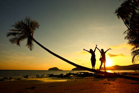 Sunset, woman silhouette