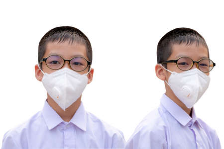 Photo for The boy with dust protection mask ( Safety Mask )on a white background - Royalty Free Image