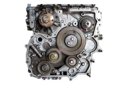 Photo pour Car engine in the garage for maintenance. Repair service , on white background - image libre de droit