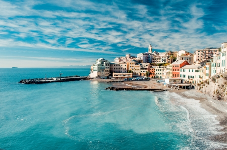 Photo pour View of Bogliasco. Bogliasco is a ancient fishing village in Italy - image libre de droit