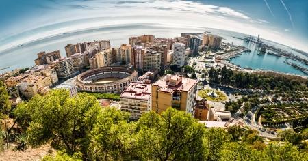 Panoramic view of Malaga bullring and harbor  Spain