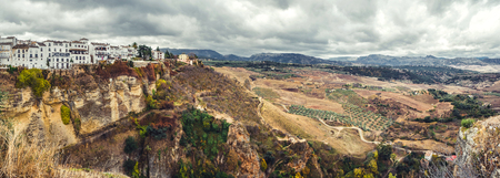 Panoramic view of old city of Ronda and surrounding countryside  Province of Malaga, Andalusia, Spain
