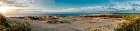 Panoramic view over dunes and Baltic Sea. Panorama of Curonian Spit, Nida, Lithuania.
