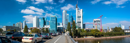 Frankfurt am Main, Germany- September 24, 2013: Panoramic view to Frankfurt am Main downtown during the traffic jam. Frankfurt am Main is a dynamic and international financial and trade city with the most imposing skyline in Germany.