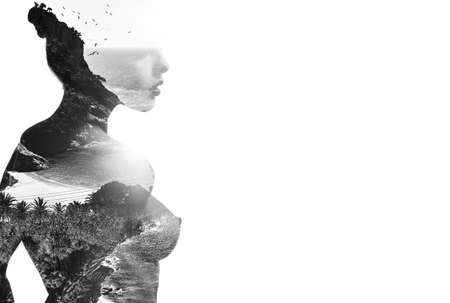 Photo pour Side view grey silhouette of woman profile combined with tropical trees, beach and sea. Double exposure. Black and white isolated on panoramic background, copyspace - image libre de droit
