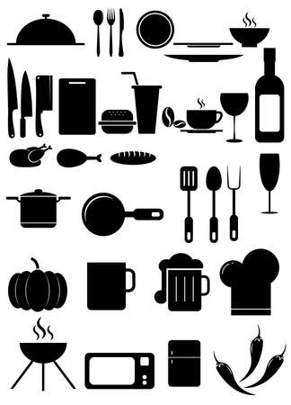 Illustration for Set of black vector icons, isolated on white background. - Royalty Free Image