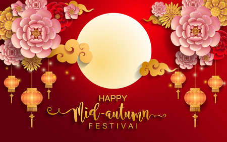 Illustration pour Mid Autumn Festival with paper cut art and craft style on color Background. - image libre de droit