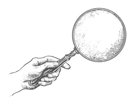 Illustration for Hand holding magnifying glass. Vintage Victorian Era Engraving style retro vector lineart Hand drawn illustration - Royalty Free Image