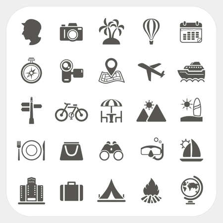 Illustration for Travel and Vacation icons set - Royalty Free Image