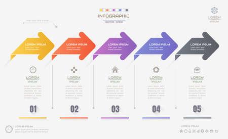 Illustration pour Infographics design template with icons, process diagram, vector eps10 illustration - image libre de droit