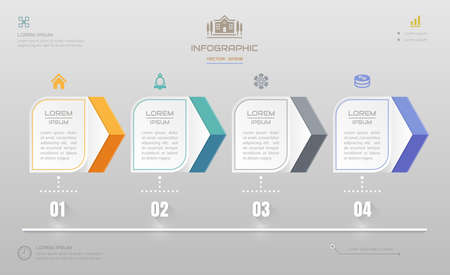 Illustration for Infographics design template with icons, process diagram, vector eps10 illustration - Royalty Free Image