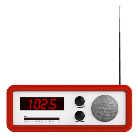 Red portable transistor radio with buttons, dial and aerial isolated on white