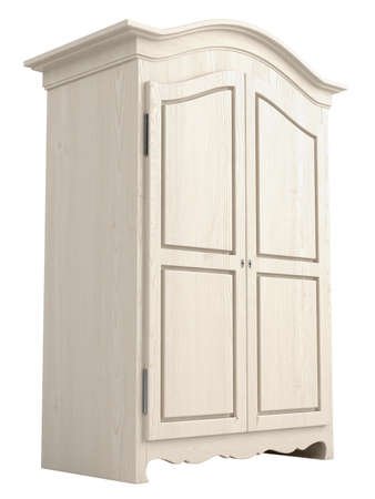 Rustic white painted wooden cupboard with a gable top isolated on white