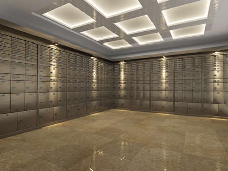 Interior of a fireproof reinforced bank vault or safe room with rows of steel safe deposit boxes for storing important document and valuables