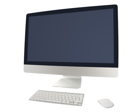 Computer set with keyboard and mouse isolated on white background. Abstract background.