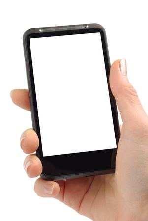Female hand with modern smartphone isolated over white background