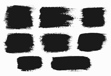 Vector grunge brush strokes backgrounds set, rectangle and square, for text. Distress texture, isolated, black on white. Used as banners, labels, badges, frames templates.