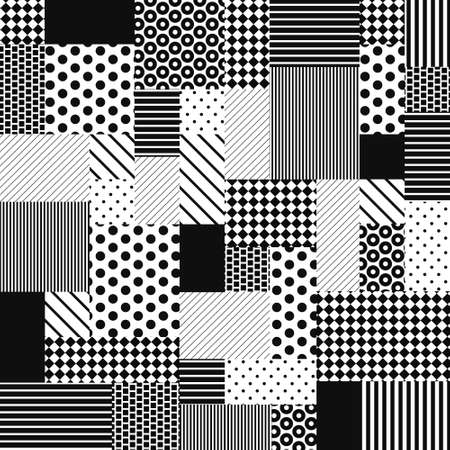 Ilustración de Abstract Black and White Patchwork from simple graphic patterns saved as seamless in swatches. Set of polka dot, striped and line classic 70s designs. Fashion background for fabric, textile. Vector. - Imagen libre de derechos
