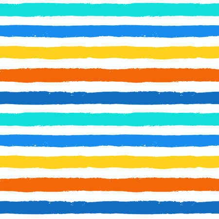 Vector Brush Stroke Textured Seamless Pattern. Colorful striped pattern, painted background. Brush stroke texture. Horizontal lines design. Vibrant colors of blue, orange, yellow, white. Grunge style