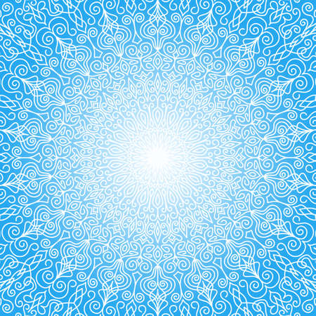 Illustration pour White Mandala Sun in the Sky. Intricate round ornament from floral pattern with weave flourish design elements. White and blue background for cards, greetings, wedding invitations. Vector lines design - image libre de droit
