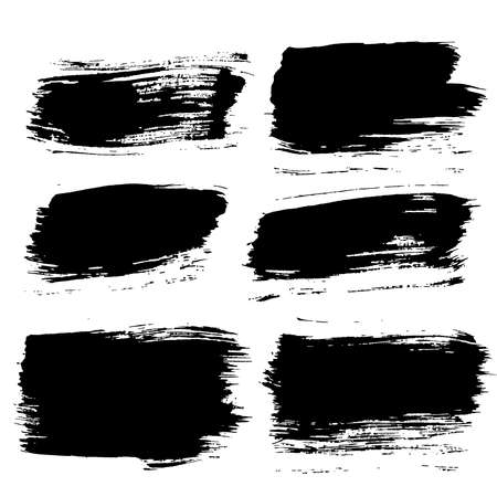 Ilustración de Set of grunge brush strokes. Paintbrush backgrounds set for text. Distress texture, isolated. Vector design elements for banners, labels, badges templates, frames, pattern brushes. Painted backgrounds - Imagen libre de derechos