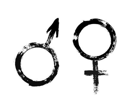 Male and Female Symbols. Feminine and masculine signs. Grunge painted style. Texture brush strokes. Unusual design elements. Vector black white illustration.