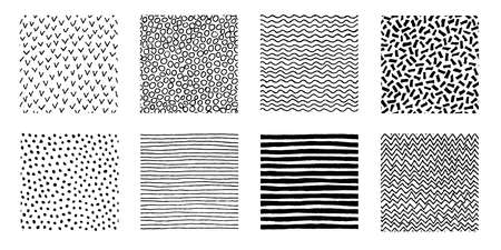 Illustration pour Irregular hand drawn patterns collection. Seamless doodle backgrounds. Striped, dotted, wave, chevron graphic print. Chaotic vector illustration. - image libre de droit