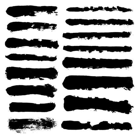 Illustration for Brush strokes. Vector paintbrush set. Grunge design elements. Long text boxes. Dirty distress texture banners. Ink splatters. Grungy painted objects. - Royalty Free Image