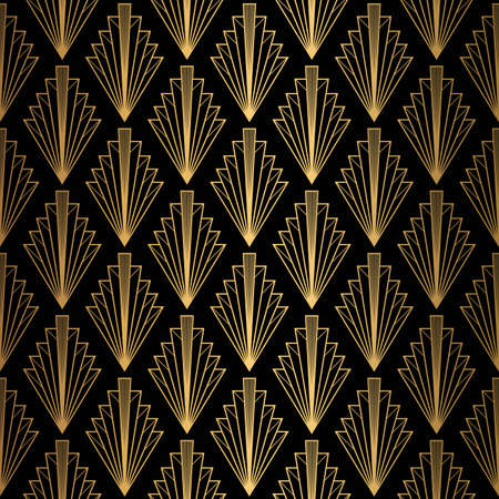 Illustration for Art Deco Pattern. Seamless black and gold background. - Royalty Free Image
