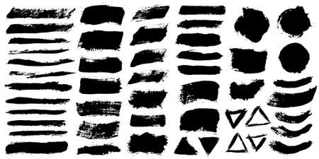 Illustration for Brush strokes. Vector paintbrushes set. Grunge design elements. Rectangle text boxes or speech bubbles. Dirty distress texture banners. Ink splatters. Grungy painted speech bubbles. - Royalty Free Image