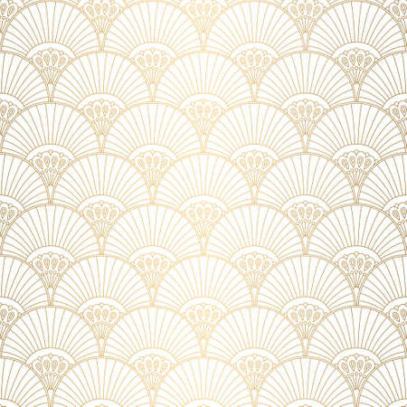 Illustration for Art Deco pattern. Seamless white and gold background. Wedding decoration - Royalty Free Image