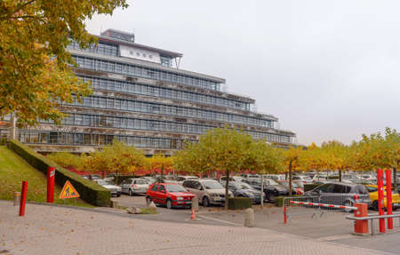 France, Strasbourg - 29 October 2015:Parking of cars near Strasbourg European Court of Human Rights, in the fall