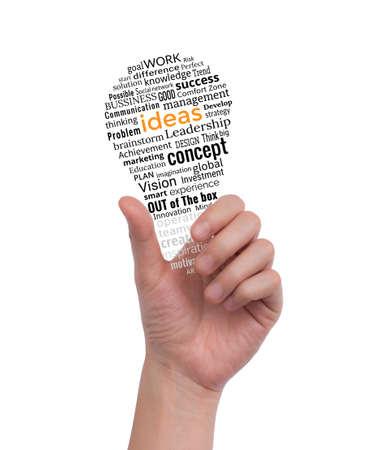 Photo pour Hand holding light bulb made with words drawing. Idea concept business. - image libre de droit