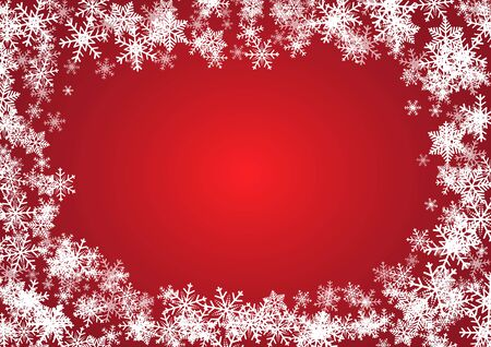 Illustration for Christmas and happy new year red vector background with snowflake - Royalty Free Image