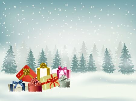 Illustration pour Christmas and happy new year vector background with snowflake and gifts in the winter season - image libre de droit