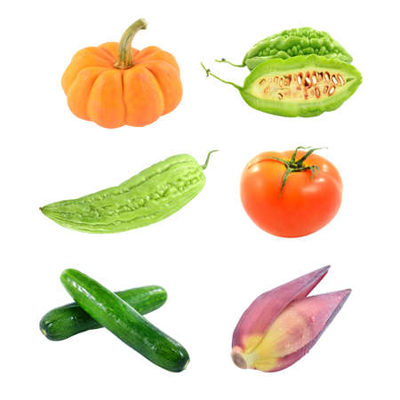 collection vegetables isolated on white background