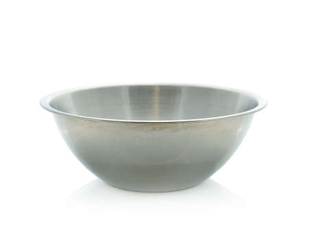 Metal bowl - kitchen utensil in front of white Background