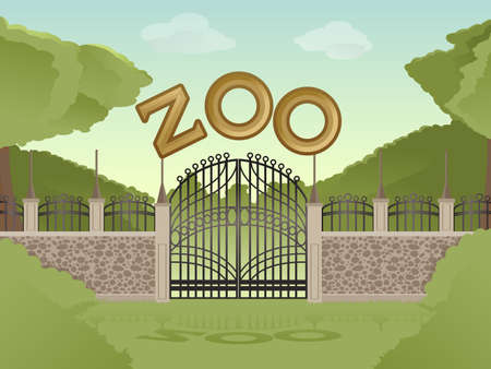 Vector image of cartoon zoological garden background