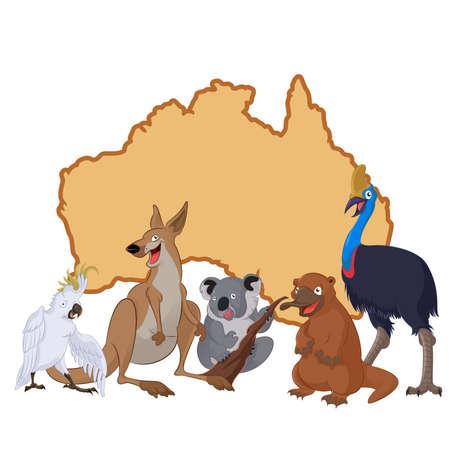 Vektor für Vector image of Australia with cartoon animals - Lizenzfreies Bild