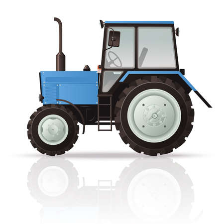 Vector image of a cool blue Tractor