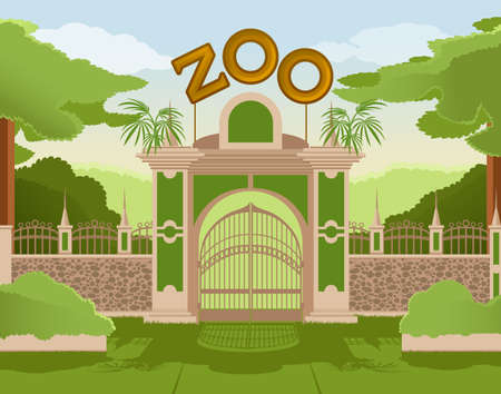 image of a colurful zoo gate