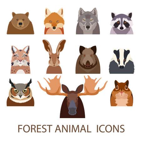Foto de image of set of forest animal flat icons - Imagen libre de derechos